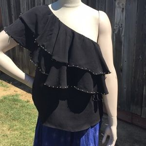 NWT LUCKY BRAND BLACK ONE SHOULDER TOP W/ STUDS XL